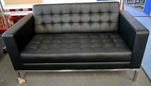 New Replica Florence Knoll Black Leather Office Sofa Lounge Suite Melbourne CBD Melbourne City Preview