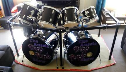 Tama double kick 7 piece shell pack and mounting rack