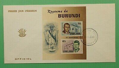 DR WHO 1966 BURUNDI FDC LOUIS RWAGASORE + JFK SEMIPOSTAL S/S  C241253