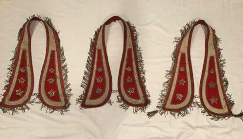 3 Vintage Fraternal Ceremonial Collar Metal Fringe * Odd Fellows Masons Lodge ?