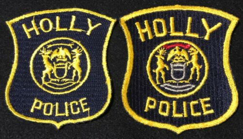 Holly Michigan MI Police Patches State Police Highway Patrol - TWO STYLES SET X2