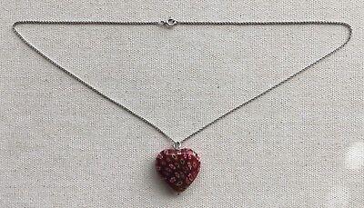 (Murano Glass Heart Necklace Sterling Pendant Millefiori Red Tones 17