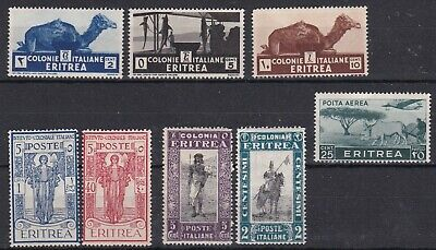 ERITREA (ITALIAN COLONIAL PERIOD) SMALL MINT COLLECTION 8 STAMPS