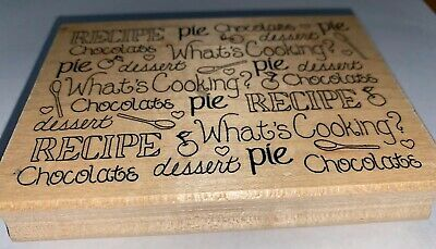 "WHAT'S COOKING Recipe Kitchen Baking Rubber Stamp Great Imp New 4.75"" x 3.25"""