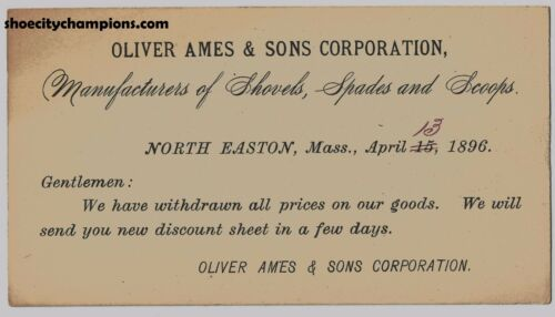 1896 Oliver Ames & Sons Corporation N. Easton Mass Price Update Index Card-Rare!