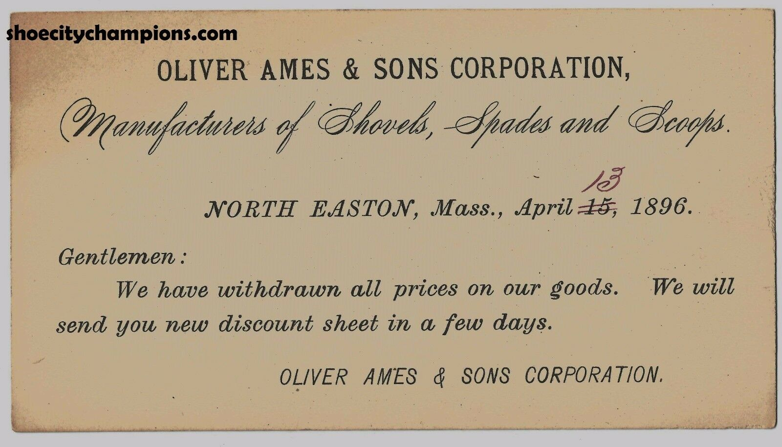 1896 Oliver Ames & Sons Corporation N. Easton, Mass Price Update Index Card-Rare