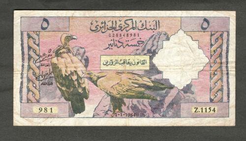 ALGERIA 1964 5 DINARS NOTE, P122