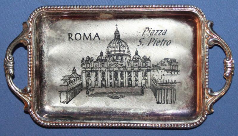 VINTAGE ITALIAN ROME SMALL METAL SOUVENIR TRAY