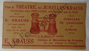 publicit ancienne jumelles krauss theatre marine 1907 ebay. Black Bedroom Furniture Sets. Home Design Ideas