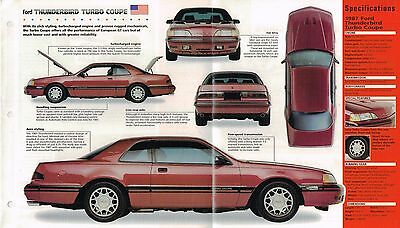 FORD THUNDERBIRD TURBO SPEC SHEET/Brochure:1987,1988,.. 1988 Ford Thunderbird Turbo
