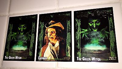 3 KNOTTS BERRY FARM 40TH HALLOWEEN HAUNT THE GREEN WITCH & CATMAN TRADING CARDS (Halloween Haunt Green Witch)