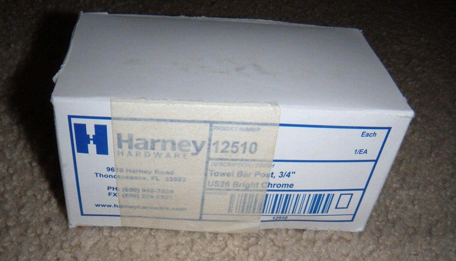 "Harney Towel Bar Brackets Post - 3/4"" Chrome w/ Mounting Har"