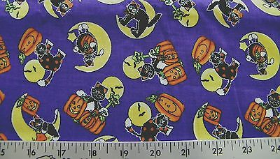 HALLOWEEN SPIRIT PUMPKIN BLACK CAT  PRINT 100% COTTON FABRIC BY THE 1/2 YARD - Halloween Cat Fabric