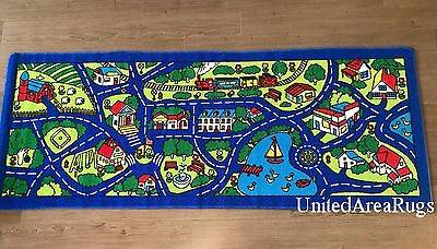 "3x7 Runner Rug Play Road  Driving Time Street Car Kids City Game BLUE  2'5""x6'6"""