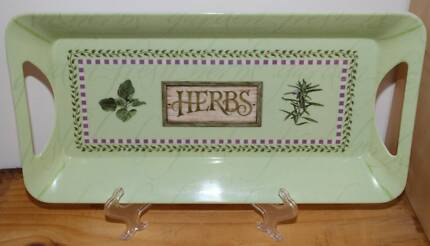 French Style Shabby Chic Green Herbs Large Melamine Tray
