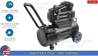 Air Compressor 8 Gallon 1.8 HP 150 PSI 120 Volt Horizontal Portable Kobalt NEW