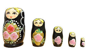 Wooden Russian Nesting Babushka Matryoshka 5 Dolls Set - Hand Painted New 12cm