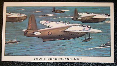 RAF Short Sunderland MK1 Flying Boat  Illustrated  Card ## VGC