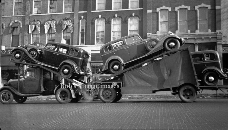 New York City photo Car Carrier Auto transport 1930 Vintage