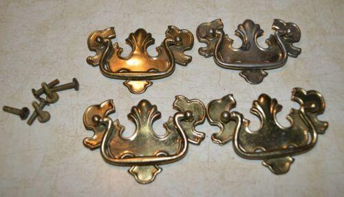Lot of 4 Vintage Drawer Pulls Vtg Gold