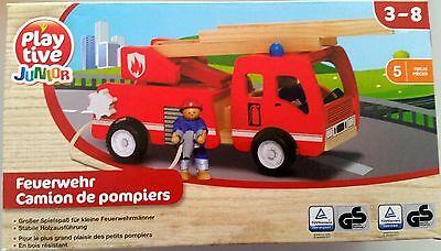 PLAYTIVE® JUNIOR Feuerwehr Holz-Fahrzeug Drehleiter Einsatzfahrzeug Kinder OVP