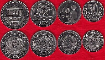 200 50,100 UNC UZBEKISTAN 2018 4 COINS SET 500 SOM