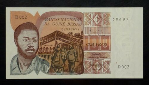 1975 GUINEA-BISSAU 100 Pesos P2a UNC First Issue