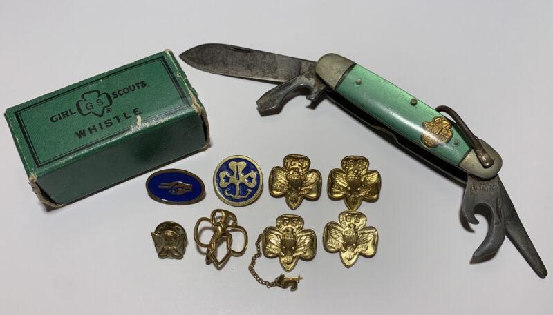 Vtg Antique Girl Scout Multi Tool Pocket Knife Gold Tone Pinback Whistle Box Lot