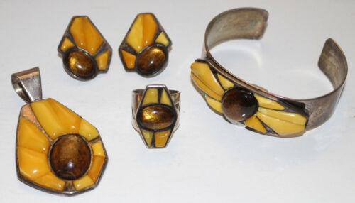 DTR Jay King Sterling Silver Bracelet Earring Ring Pendant Baltic Egg Yolk Amber