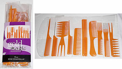 Comb Set Roll Up (Rat -Tail- Pin-Tail- Wave-Rake) 10pc Bone  (Gold Magic#80007)