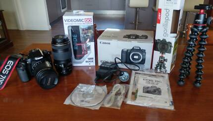 Canon 70d + joby gorillapod 3k + 2 lenses + extras