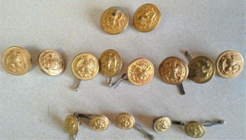 Lot 15 Vintage Navy Brass Buttons Hiborn Hamburger Superior Waterbury VanGuard