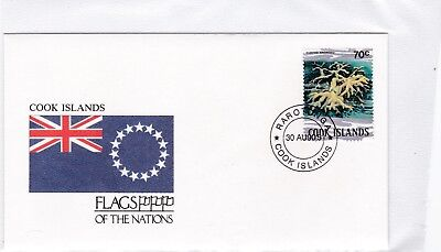 Cook Inseln 754 KORALLEN SEA LIFE  FAHNE FLAGGE FLAG RAROTONGA BRIEF COVER