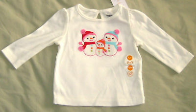 New GYMBOREE Girls Size 6-12 Months White Long Sleeves Round Neck Tops Blouse