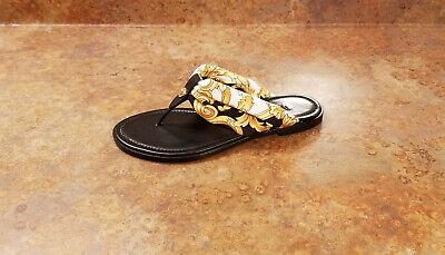 New! Versace Hibiscus Flip Flop Thong Sandal Black Womens 5 US 35 Eur MSRP $595