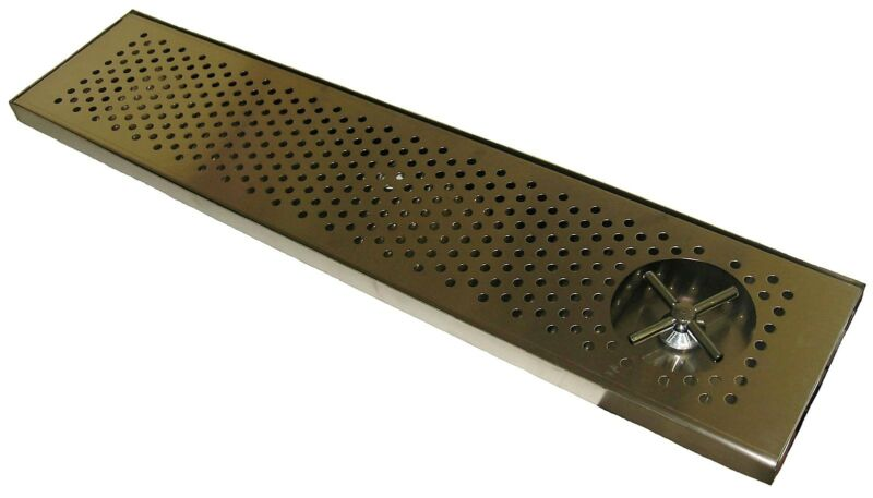 """Draft Beer RINSER Drip Tray 36"""" X 8"""" w/ S.S. Grill 4"""" metal drain - DTW-36SS-R"""