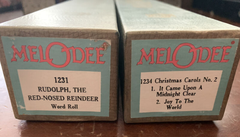 2 Melodee Player Piano Rolls Rudolph, The Red-nosed Reindeer & Christmas Carols