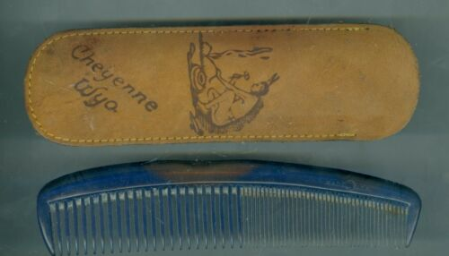1950's Leather Indian Brave Cheyenne, Wyoming Souvenir Case with Comb