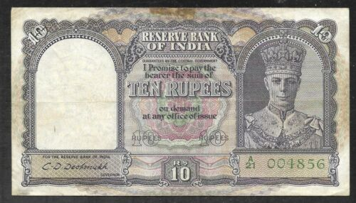 India - Old 10 Rupee Note (1943)  P24 - VF/XF