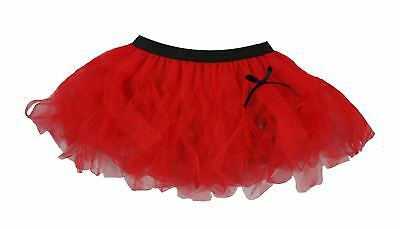 Ladies Plain Flo Red Halloween Cyber Tutu Skirt Devil Fancy Dress - Flo Halloween Costume
