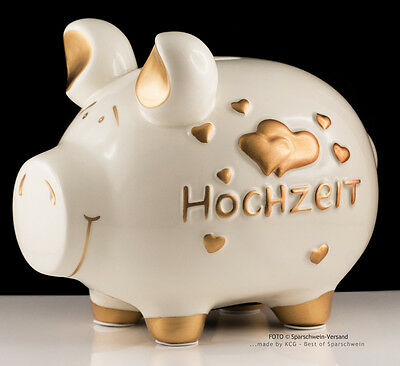 Großes XL Sparschwein KCG: HOCHZEIT, Spardose Weiß + Gold Herzen, Geldgeschenk