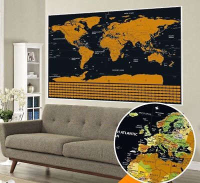 Travel Tracker Big Scrape Off World Map Poster with US States and Country Flags