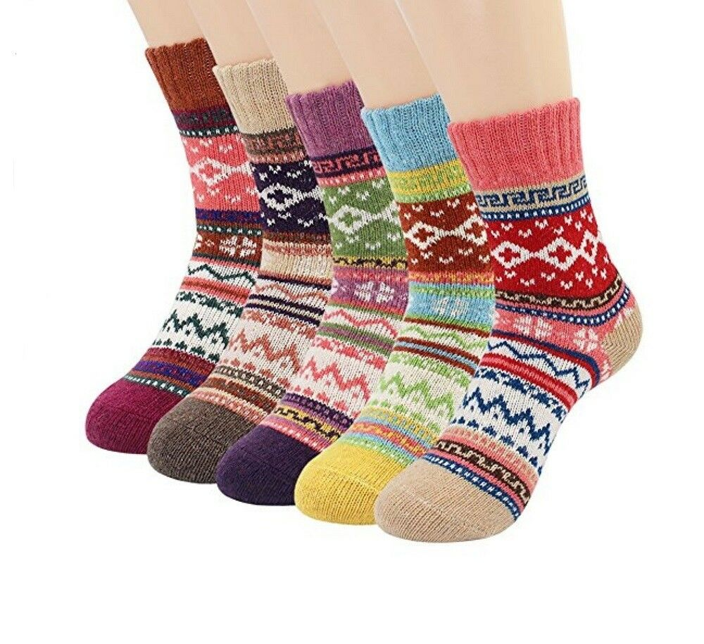 5 Pairs Socks Womens Vintage Style Winter Thick Knitting Warm Wool Crew Clothing, Shoes & Accessories