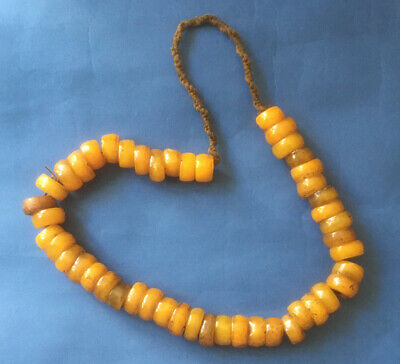 African Copal Dirty Orange Amber Large Bead Necklace 24in Overhead, used for sale  Shipping to Nigeria