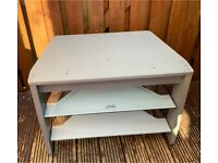 Silver JVC tv stand