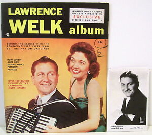 Lawrence-Welk-Magazine-and-Real-Photo-Postcard-Signed-by-Welk-Others