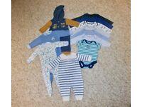 Baby bundle 0-3 months - 7 vests, 2 sleep suits, 2 onesies