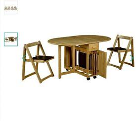Debenhams drop leaf table and 4 chairs