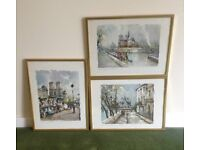 3x framed watercolour prints of the Notre Dame , Paris