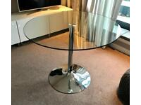 Circular Glass table with chrome base